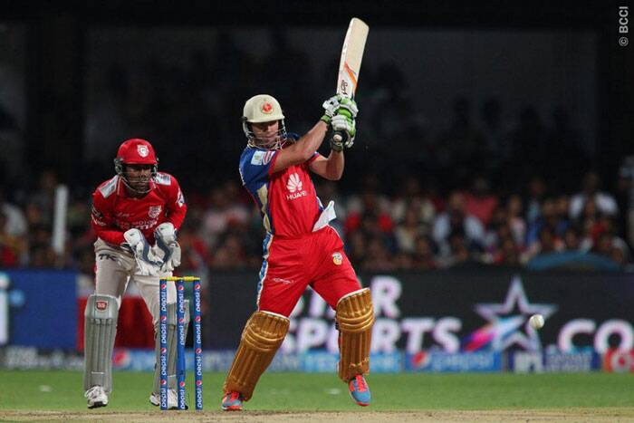 The hero of Royal Challengers Bangalore's chase against Sunrisers Hyderabad a few days ago, AB De Villers scored a fighting half-century against Kings XI Punjab.  De Villers top-scored for his side with 53 runs off just 26 balls, but unlike last time, he couldn't guide his team towards victory. (Photo: IPL/BCCI)