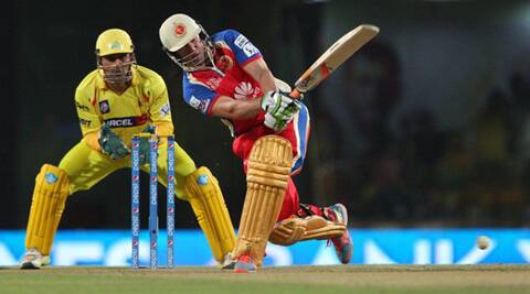 RCB's AB de Villiers played a useful cameo to guide his team towards victory against CSK in their IPL7 contest in Ranchi on Sunday, (IPL/BCCI)