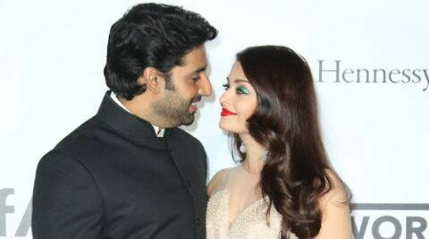 Abhishek took to twitter and shared a picture of both him and Aishwarya at the amfAR gala. (Source: AP)