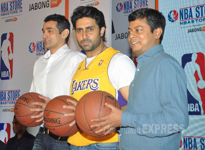 Abhishek Bachchan, who is a sports enthusiast, was seen at the launch of the first official online store of the National Basketball Association (NBA) in Mumbai. (Photo: Varinder Chawla)