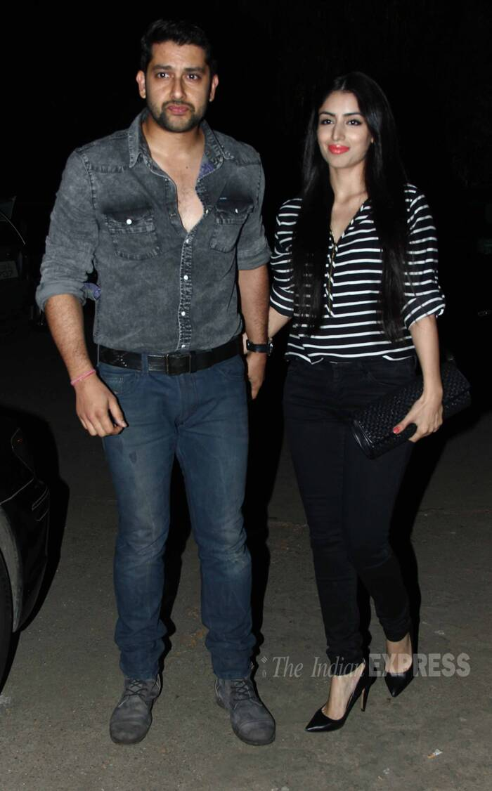 Aftab Shivdasnai snapped hand-in-hand with fiancé Nin Dusanj. (Source: Varinder Chawla)