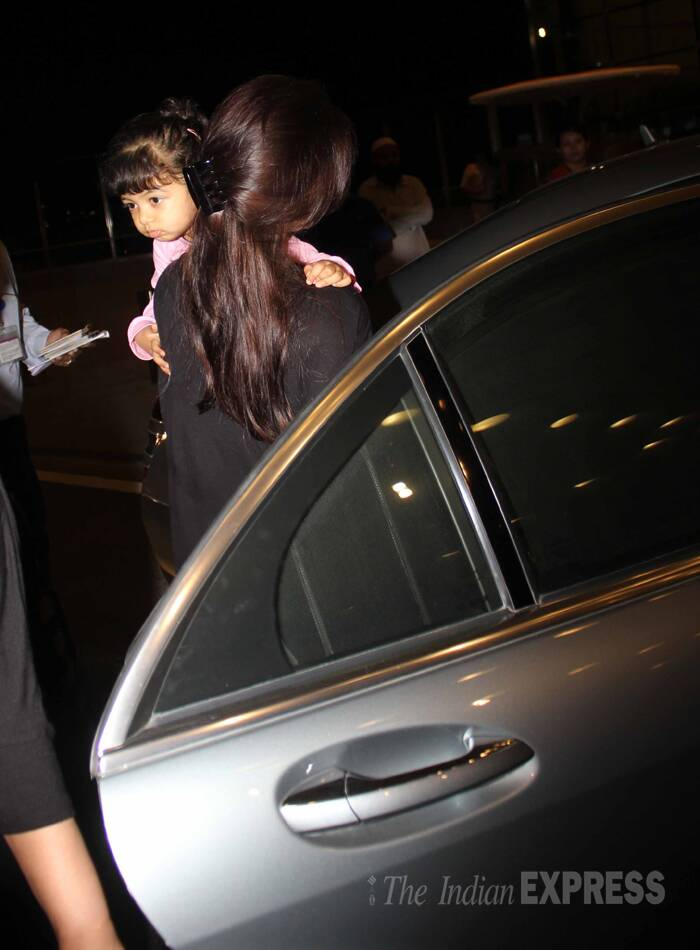 Chubby-cheeked Aaradhya has her hair in a ponytail with a fringe. (Source: Varinder Chawla)