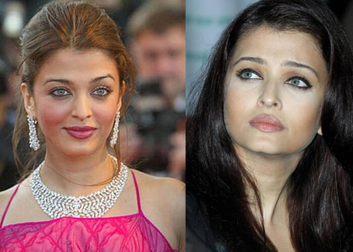 Former beauty queen Aishwarya Rai Bachchan has also had her off make up days. In one look the actress clearly overdid the blush to match her dress, not a good idea! And in the other picture, she too has the white around her eyes.