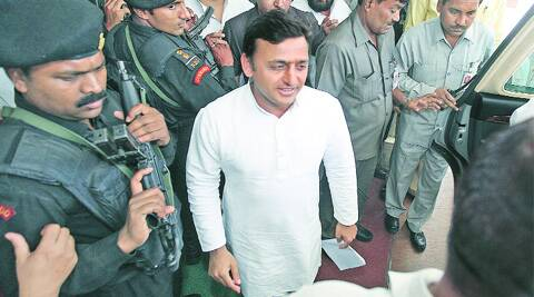 Chief Minister Akhilesh Yadav comes out after attending the cabinet meeting, in Lucknow on Tuesday. Source: Express photo byVishal Srivastav )