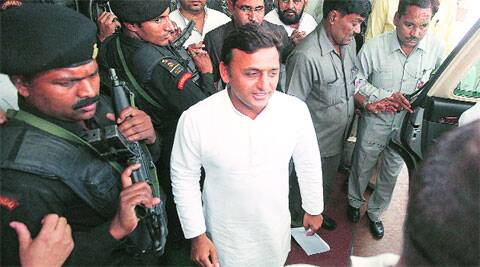 Akhilesh Yadav in Lucknow on Tuesday.Express photo: vishal srivastav