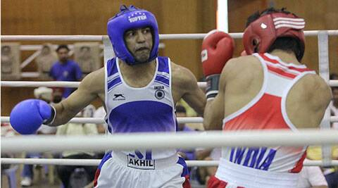 Akhil Kumar, who has fought for much of his career in the 56kg category, is moving up to the 60 kg class. (IE Photo)