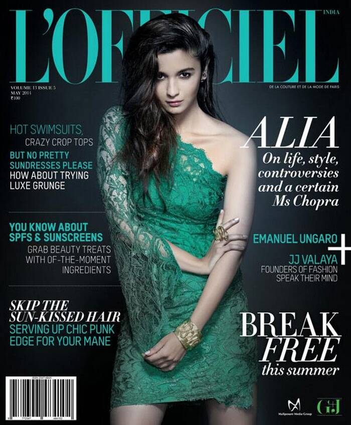 '2 States' actress Alia Bhatt sizzles on this month's issue of  fashion magazine L'Officiel. Dressed in a green one shoulder-dress, the diva gives us looks sensuous as she entices us with her bedroom eyes.