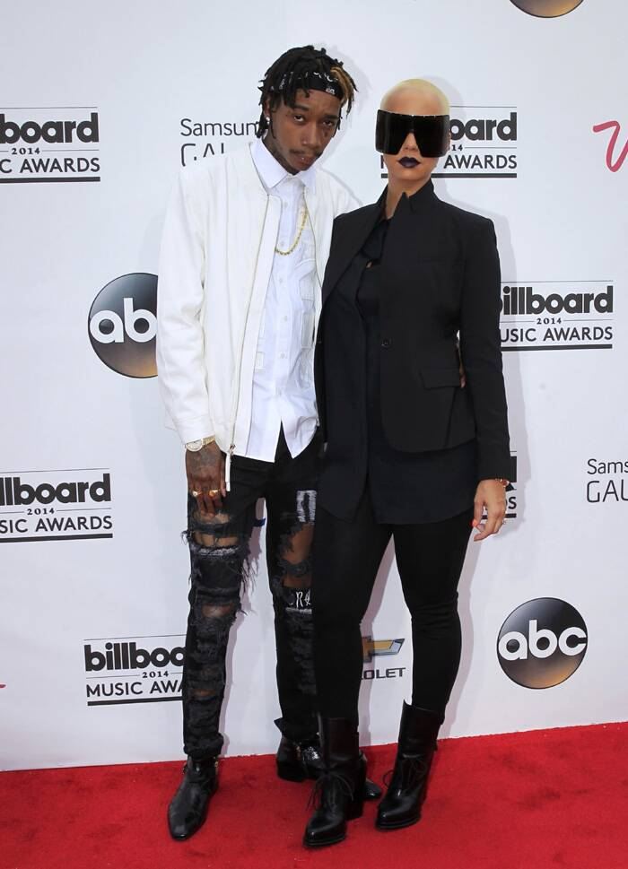 Amber Rose arrived with her rapper husband Wiz Khalifa. (Source: Reuters)