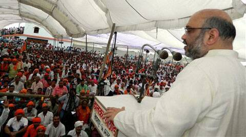 BJP leader Amit Shah addressing an election rally for party candidate in Azamgarh on Sunday. (PTI)