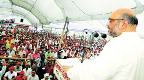 Amit Shah at a rally in Azamgarh on Sunday. PTI