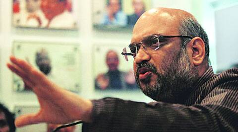 Amit Shah at the Idea Exchange on Tuesday. ( Express photo by Renuka puri )