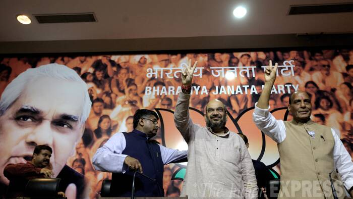 Amit Shah with Ravi Shankar Prasad at BJP headquarters. (Source: Express Photo by Ravi Kanojia)