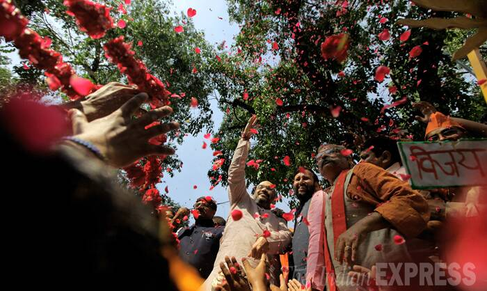Amit Shah celebrating. (Source: Express Photo by Ravi Kanojia)