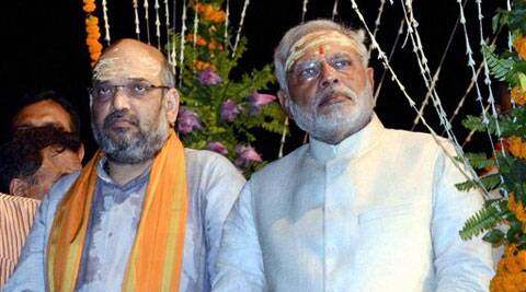 Modi held the meeting at Gujarat Bhawan in Chanakyapuri with Shah and Jaitley. (Source: PTI)