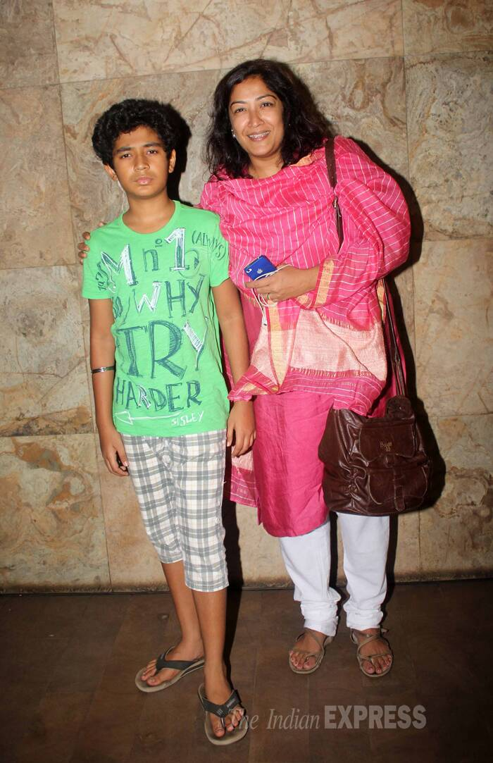 Their son Partho Gupte, who is also in the film, poses for pictures sans a smile. (Photo: Varinder Chawla)