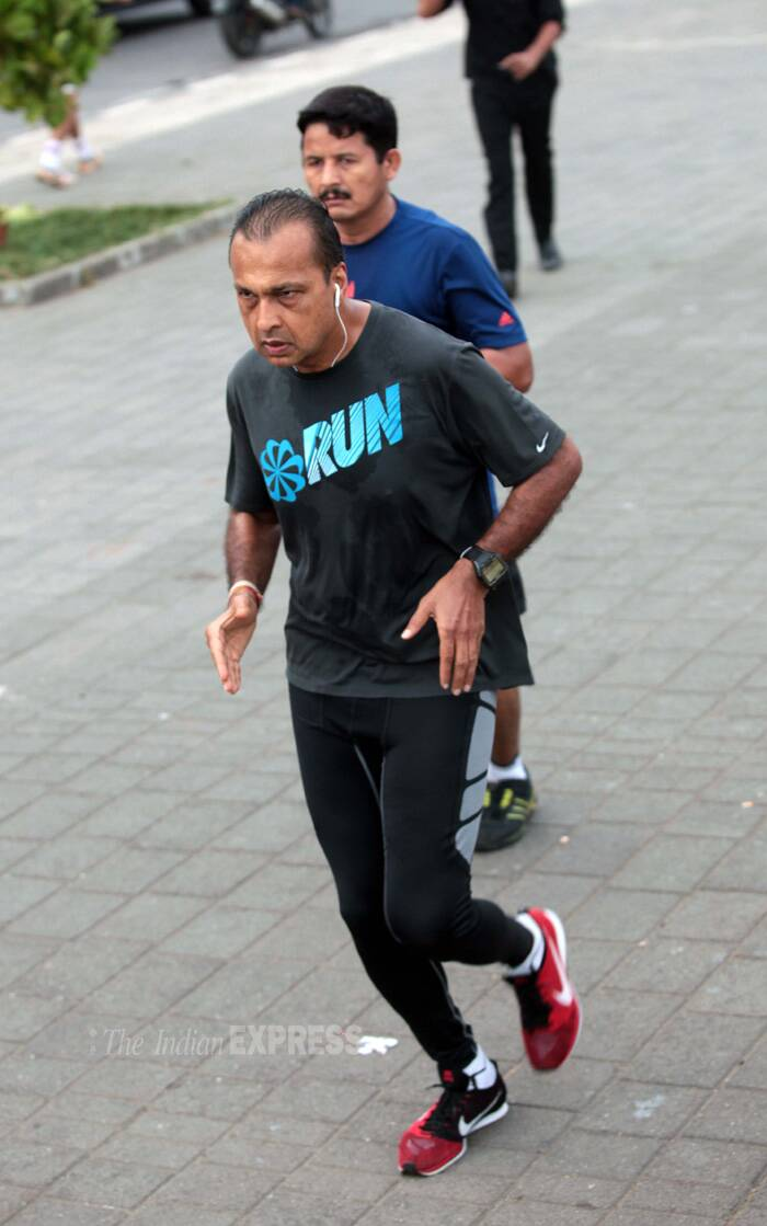 Meanwhile, industrialist Anil Ambani was also spotted jogging at the Marine Drive in Mumbai on May 19. (Source: Express photo by Kevin Dsouza)