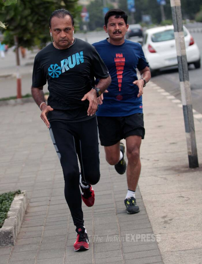 The Reliance Group Chairman was spotted jogging in the early hours of the day. (Source: Express photo by Kevin Dsouza)
