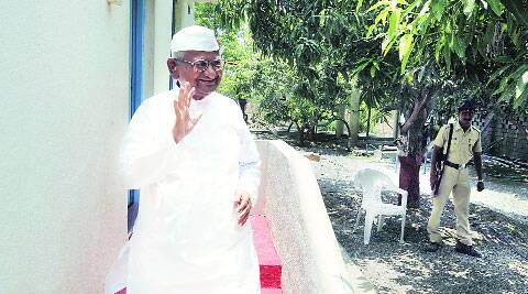 Anna Hazare in Ralegan Siddhi on Thursday.  (Source: Express photo by Pavan Khengre)