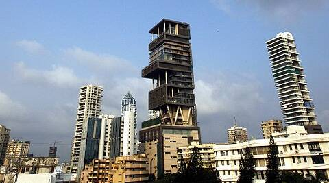 Mukesh Ambani's 27-story, 400,000-square-foot skyscraper home Antilia tops the Forbes list of the most expensive homes in the world. (Reuters)