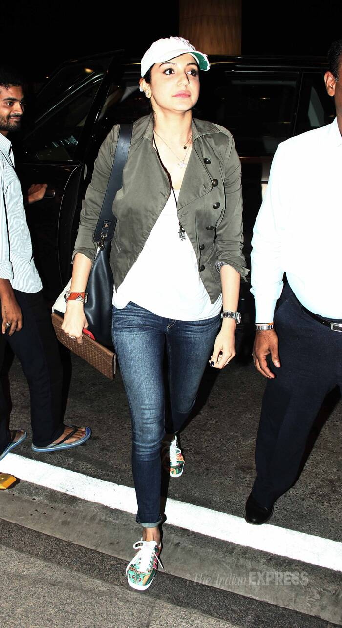 Bollywood's busy girl Anushka Sharma, who has just wrapped up the shoot of her debut home production 'NH 10' in Jodhpur, left for Barcelona to join ex-beau Ranveer Singh for the shoot of Zoya Akhtar's 'Dil Dhadakne Do'. (Source: Varinder Chawla)