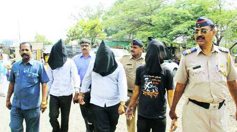 The three suspects in custody of the Pune police on Thursday.  ( Source: Express photo by Rajesh Stephen )