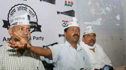 AAPP leader Arvind Kejriwal with Manish Sisodia and Sanjay Singh in Varanasi. (Photo: PTI)