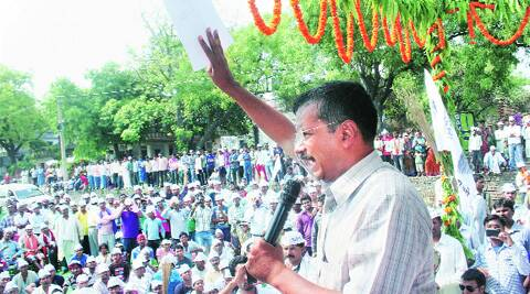 AAP convener Arvind Kejriwal in Ramana village near Varanasi Saturday.  PTI