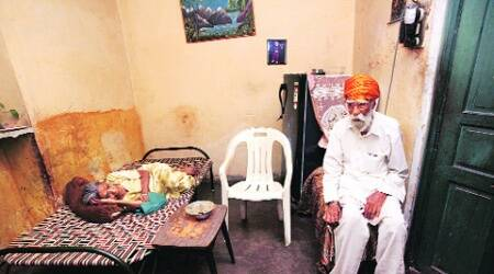 Happy Singh's grandparents at their Trinagar residence on Thursday. (Renuka Puri)
