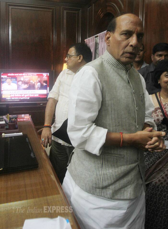 "Rajnath Singh told reporters, ""The contribution of Sardar Patelji to the unity of the country has been tremendous. Country cannot repay what he has done for (it). Sardar Patel was the first Home Minister of the country and I came here to take his blessings before taking charge."" (Source: IE Photo by Anil Sharma)"