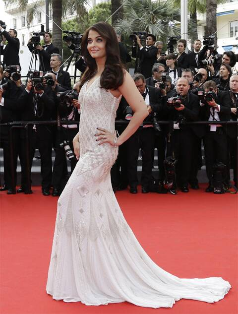 Aishwarya Rai Bachchan looked perfect in this ivory white Roberto Cavalli gown. (AP)