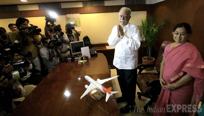 Senior TDP leader Pusapati Ashok Gajapathi Raju also took charge on Thursday (May 29) as the new Civil Aviation Minister. (Source: IE Photo by Ravi Kanojia)