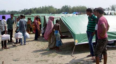 Violence affected people take shelter at a relief camp at Naryanguri Baksa, Assam. (PTI)