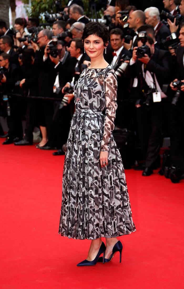 French actress Audrey Tautou was chic in a monochrome dress with pointed heels. <br /><br /> Seen here, the actress shows off her ensemble as she arrived for the opening ceremony of the 67th Cannes Film Festival and the screening of the 'Grace of Monaco'. (Source: Reuters)