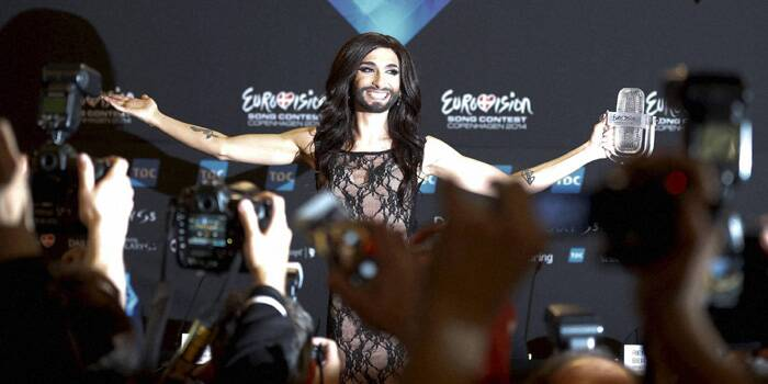 "Austrian drag queen Conchita Wurst, popularly known as ""the bearded lady,"" won the Eurovision Song Contest on Saturday (May 10)with the James Bond-theme-like ballad ""Rise Like a Phoenix"", before a global TV audience of about 180 million people in 45 countries. (AP)"