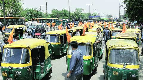 Striking auto-rickshaw drivers on Monday. (Ravi Kanojia)