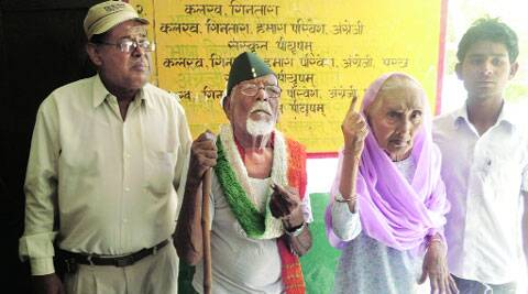 Nizamuddin,106, at the polling station.Narendra Modi had felicitated him at a Varanasi rally.