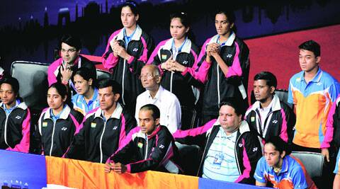 A tense Indian bench watch Jwala Gutta and Ashwini Ponappa go down 21-12, 20-22, 21-16 to the Japanese pair. ( Source: Express photo by: Ravi Kanojia )