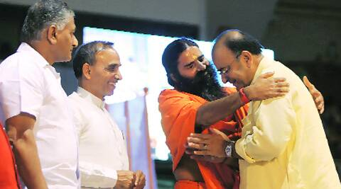 V K Singh, Satyapal Singh, Arun Jaitley and Ramdev on Sunday.