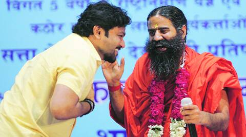 Supriyo, Ramdev in New Delhi on Sunday. ( Source: Express photo )