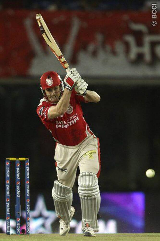 Kings XI Punjab captain George Bailey was instrumental in guiding his team to a 170-plus score. Bailey scored 26 runs off 18 balls and shared a 60-run partnership with David Miller. (Source: IPL/BCCI)