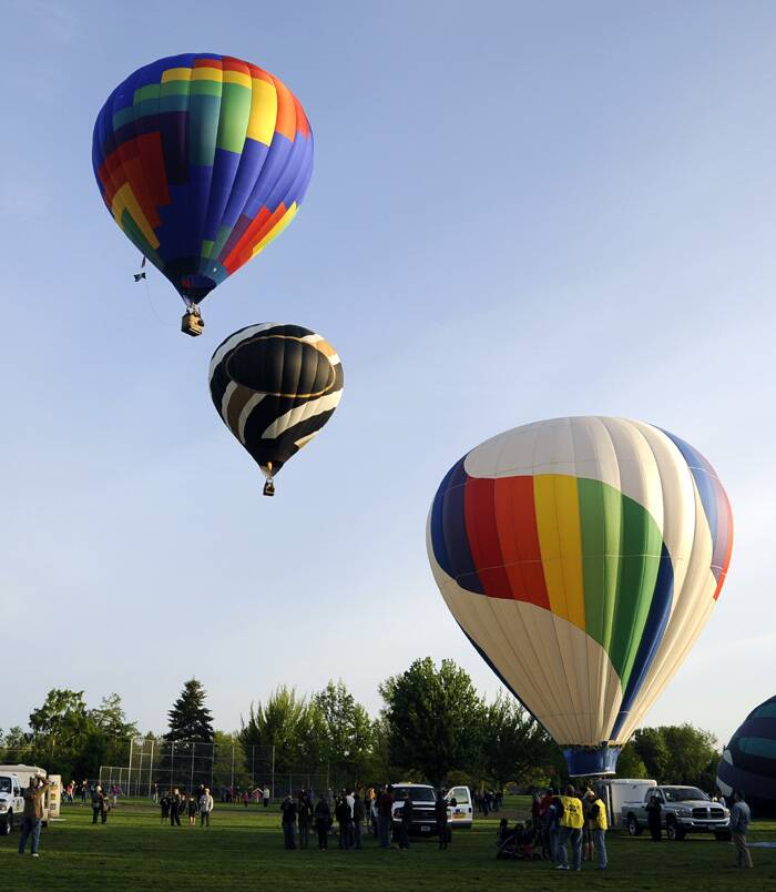 About 20 balloon organisers inflated their balloons during the media day launch  to prepare for the 40th Annual Balloon Stampede in Walla Walla, Washington. (AP)