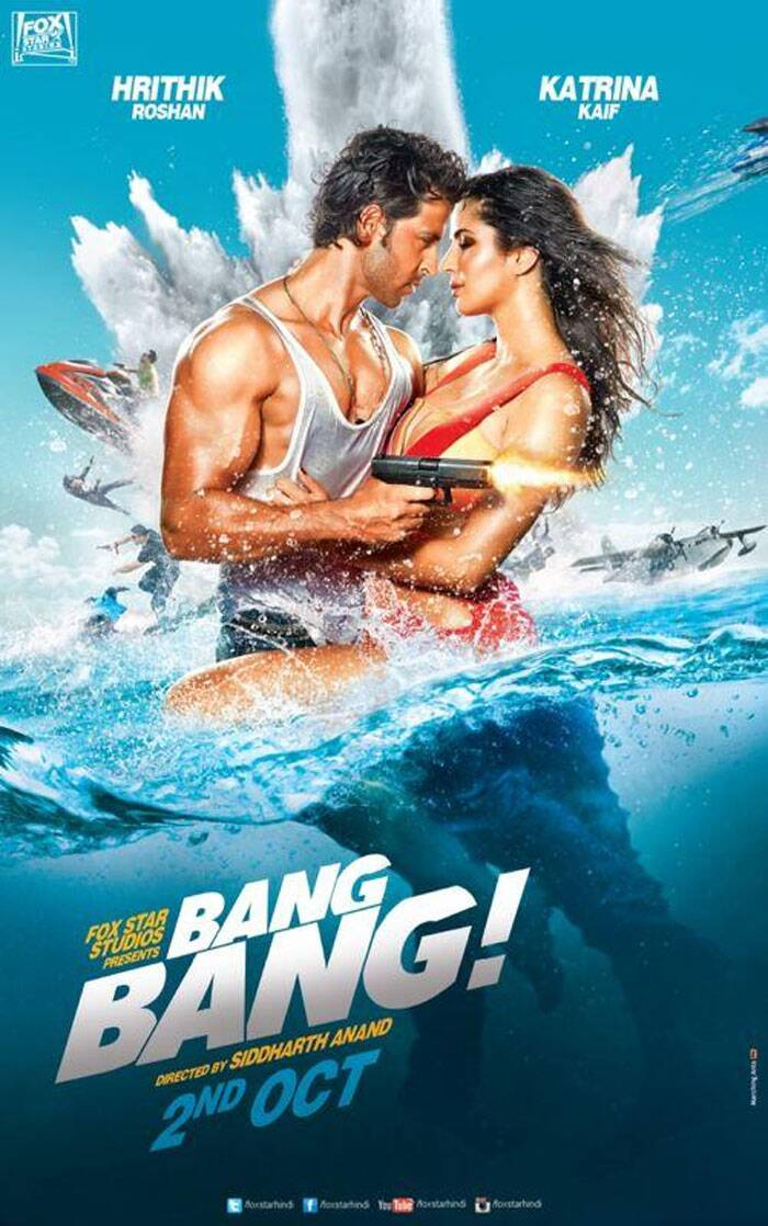 The first look of the much-awaited action flick 'Bang Bang' is finally out, giving us a glimpse of the smoking hot Katrina Kaif entwined around her onscreen lover Greek God, Hrithik Roshan in a cool half under-water photo shoot.