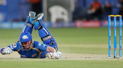 Mumbai Indians' Ben Dunk dives to beat a throw. Mumbai's batting faild to take off until the arrival of Pollard, who smashed a 48-ball 78. Stull, it proved insufficient. (BCCI/PTI)