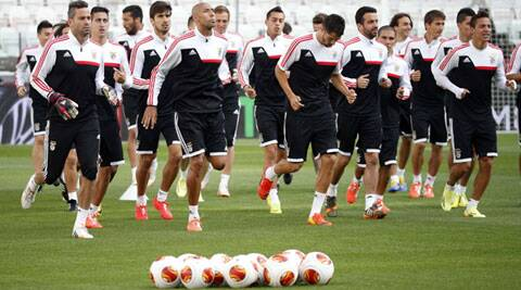 Benfica train ahead of their final against Sevilla in Turin. (Reuters)