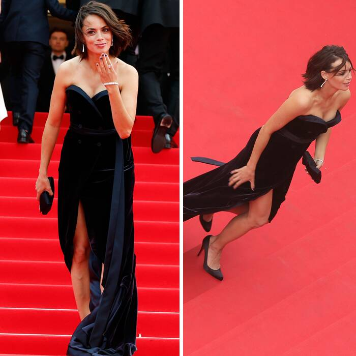 French actress Berenice Bejo was elegant in a dark-blue silk-velvet Alexis Mabille gown as she posed for pictures on the red carpet before the premiere of 'The Search'. (Source: Reuters)