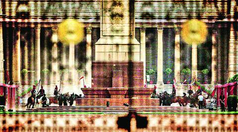 Rehearsal for Narendra Modi's swearing-in ceremony, at the Rashtrapati Bhawan forecourt on Saturday. ( Source: Express photo by Praveen Khanna )
