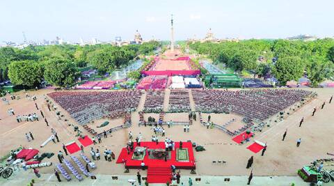 Rashtrapati Bhavan forecourt prepares for the swearing-in — expected to be the biggest gathering hosted by it — on Sunday. ( Source: PTI )