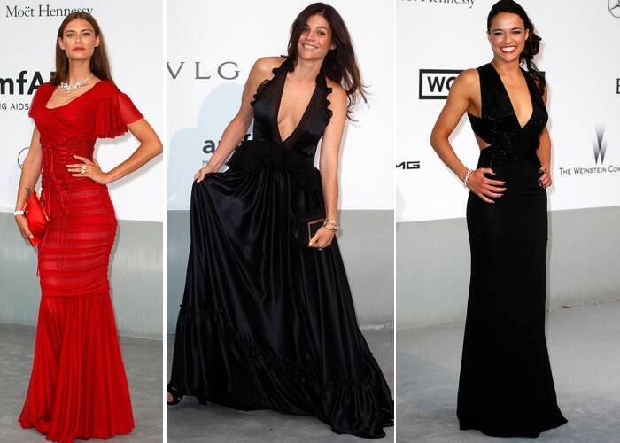 Italian model Bianca Balti wassy in red, Julia Restoin Roitfeld wore Givenchy and Michelle Rodriguez picked a black Elisabetta Franchi dress and Avakian bracelet. (Source: Reuters)