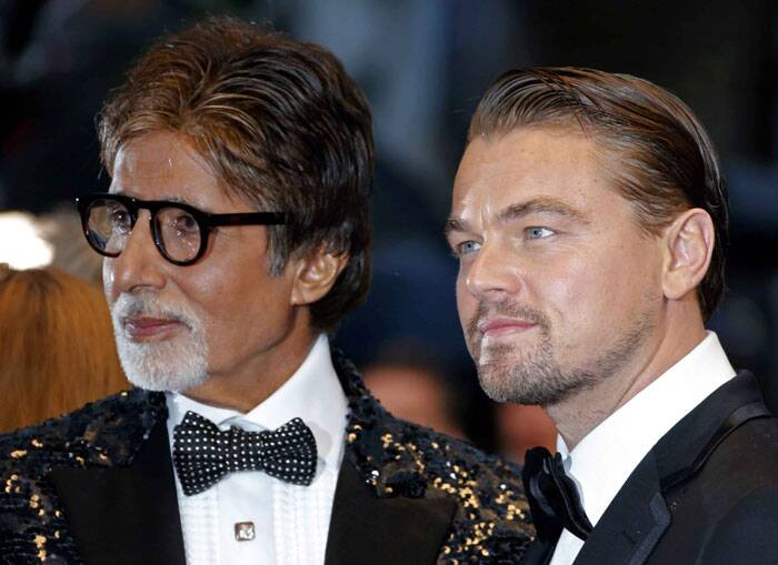 "At the opening ceremony, Leonardo DiCaprio, joined by his ""Gatsby"" co-star, Amitabh Bachchan, declared the 66th Cannes officially begun. (AP)"