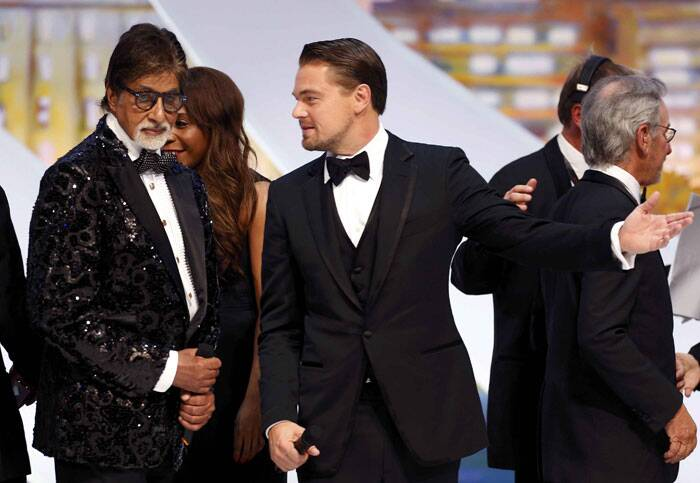 """Big B addressed the gathering at the Cannes in Hindi. He tweeted: """"Acknowledging Cannes in recognising 100 yrs of Indian Cinema, it was absolutely imperative for me to address, in my Mother tongue!"""" Seen here with fellow actor Leonardo DiCaprio. (AP)"""